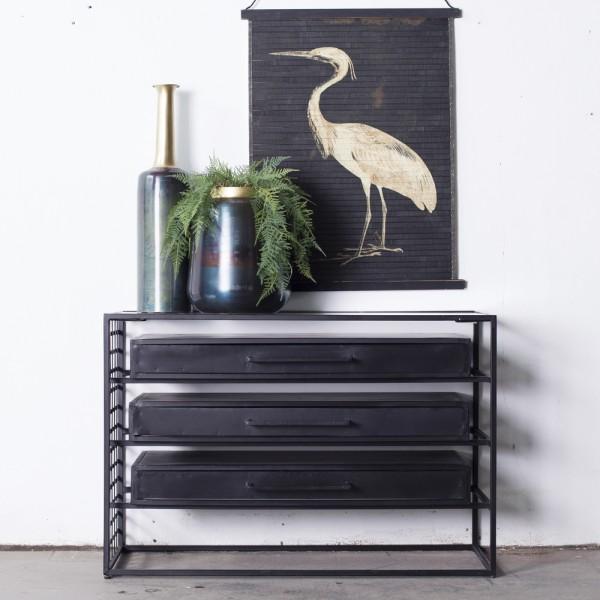 Kommode Liam 105 cm Metall schwarz Schrank Sideboard