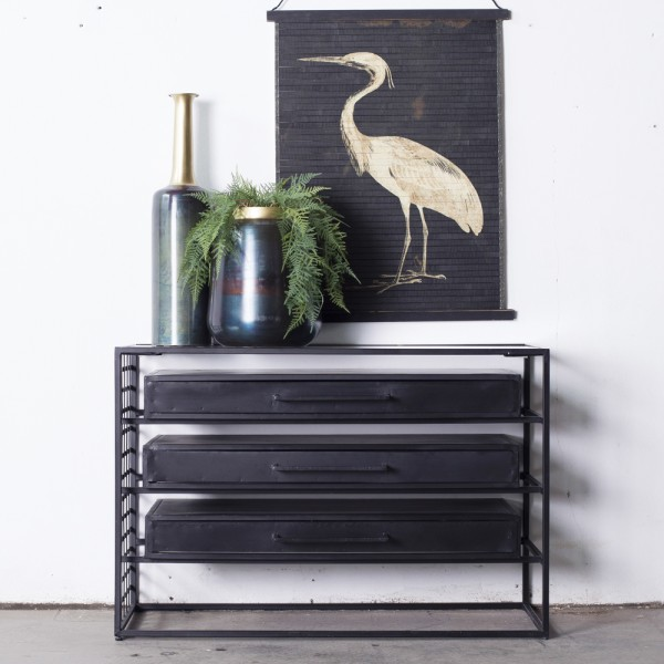 Kommode Liam 105 cm Metall schwarz Schrank Sideboard Lowboard