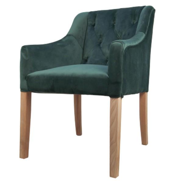 Stuhl Jersey Samt dunkelgrün Velvet Vierfußstuhl Esszimmerstuhl Armlehnstuhl Esstischstuhl
