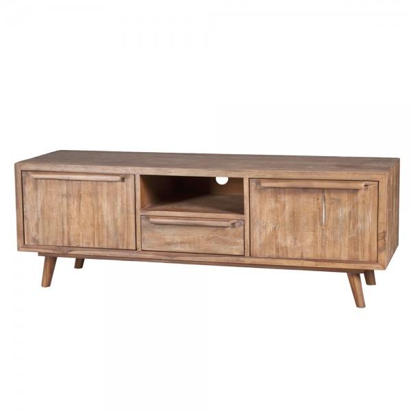 Retro Massivholz TV Möbel B 145 cm Teak Holz Lowboard mit Türen und Schublade