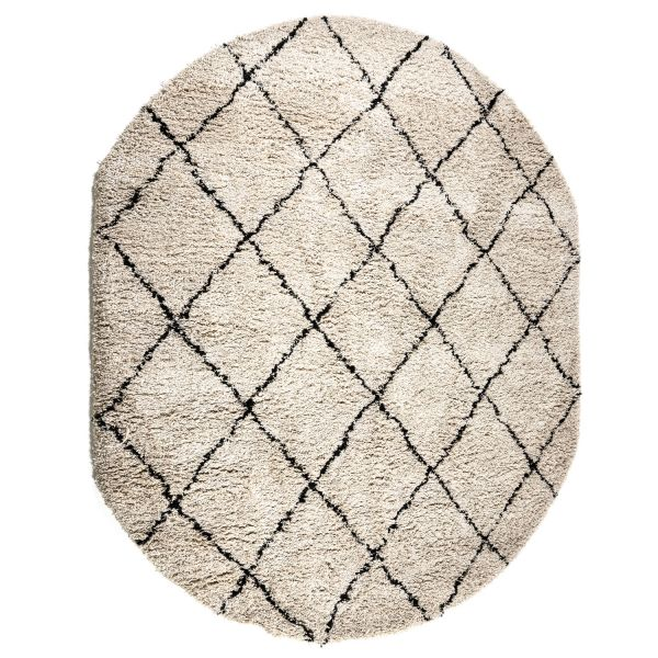 Teppich Rox 200 x 300 cm oval beige Raute Muster