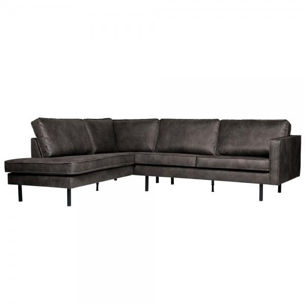 Eckgarnitur Rodeo Leder schwarz Couch Sofa Ecksofa Ledercouch Longchair Links