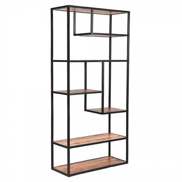 Industrie Regal Force H 182 cm Mango Massivholz Metall Bücherregal Wandregal