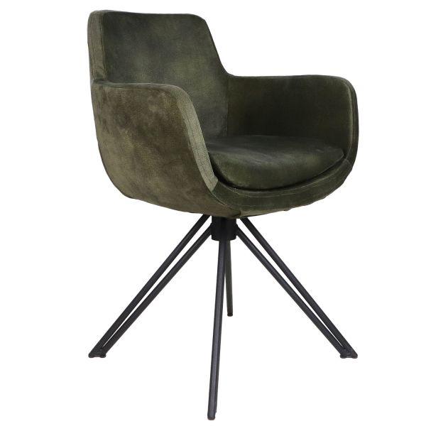 2er Set Esszimmerstuhl Phoenix jungel grün Samt Velours Armlehnstuhl Esstischstuhl Stuhl