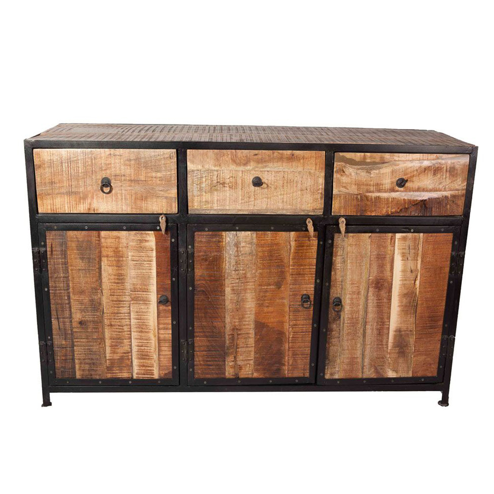 industriedesign sideboard nori 150 cm metall schwarz holz kommode schrank new maison esto. Black Bedroom Furniture Sets. Home Design Ideas
