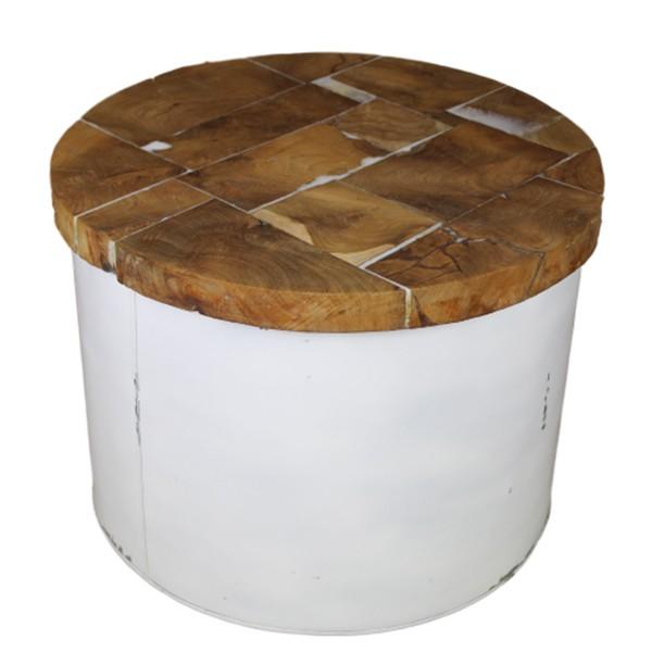 Beistelltisch Couchtisch DRUM rund Ø 55 cm weiß Kaffeetisch Tisch Massivholz