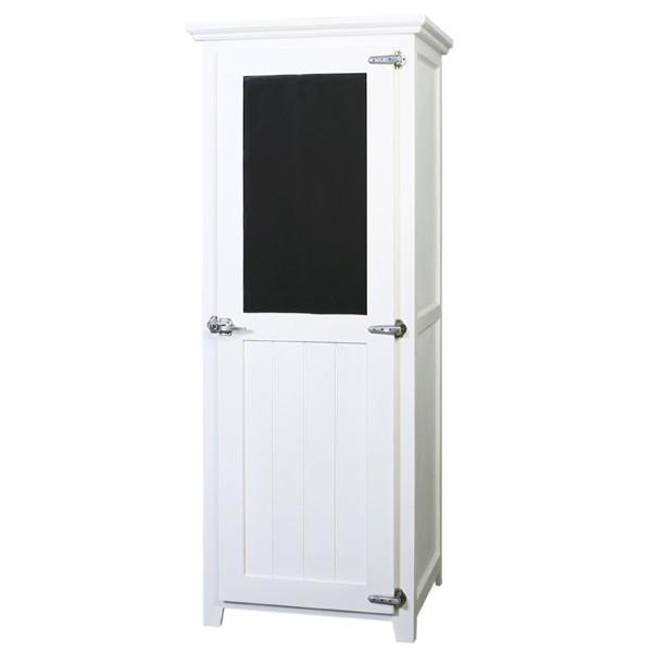 Dielenschrank 1 Tür mit Tafel Landhaus Shabby Massiv weiß