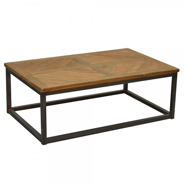 Couchtisch LOU 110 cm Beistelltisch Anstelltisch Kaffeetisch Tisch Metall Teak