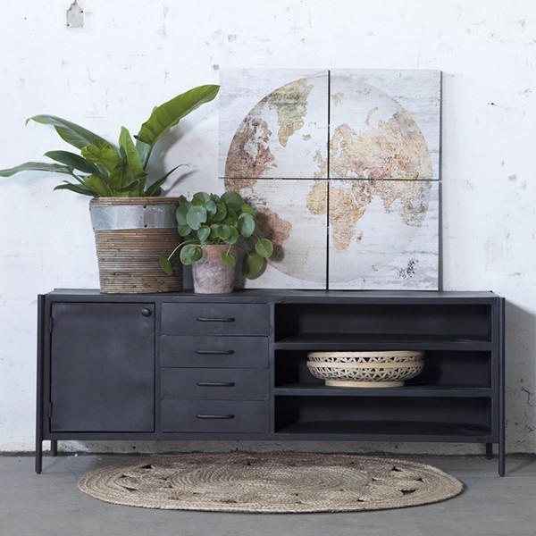 Industrie TV Möbel FIK 160 cm TV Board Sideboard Kommode Metall schwarz