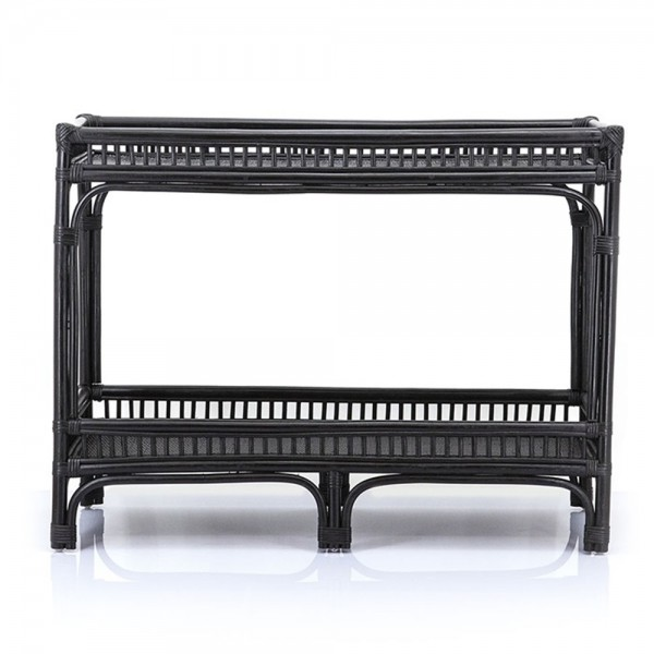 Regal Sonnet B 100 cm Rattan schwarz Beistelltisch Bücherschrank Anstelltisch