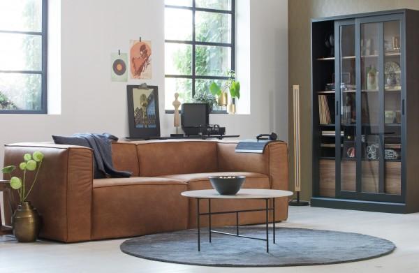 woood 3,5 Sitzer Sofa Bean Cognac recyceltes Leder