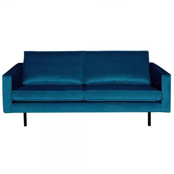 2,5 Sitzer Sofa Rodeo Samt blau Couch Garnitur Samtsofa Couchgarnitur