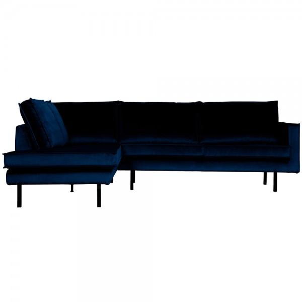 Eckgarnitur Rodeo Samt dunkelblau Couch Sofa Ecksofa Longchair links