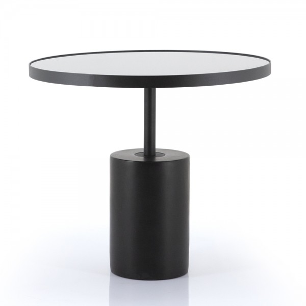 Beistelltisch Dongol Ø 61 cm Beton Metall Glas schwarz Anstelltisch Couchtisch