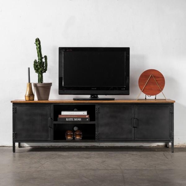 Vintage TV Möbel JORIS 185 cm Holz Metall TV Lowboard