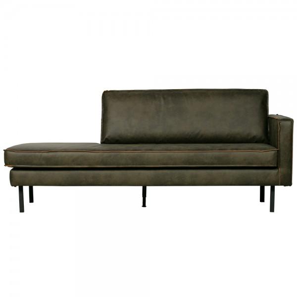 Sofa Chaiselongue RODEO Recamiere rechts recyceltes Leder armygrün Tagesbett