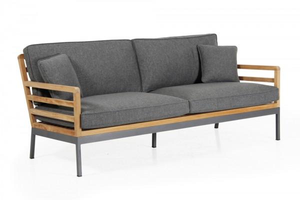 3-Sitzer Lounge Garten Sofa Teakholz ZALANGO incl. Sitzkissen