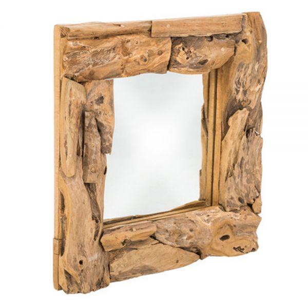 Wandspiegel 50 x 50 cm natur Spiegel Teak Wurzelholz Mirror