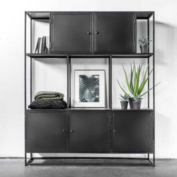 Bücherregal BONY B 160 cm Schrankwand Regal Holz Metall schwarz