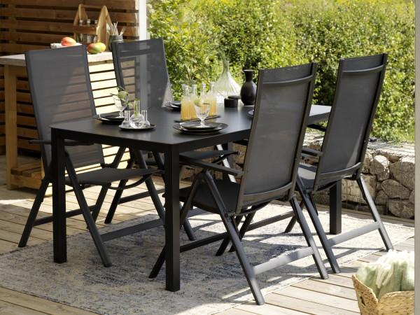 Gartenmöbel Esstischgruppe RANA Alu schwarz Tisch 150 x 90 cm