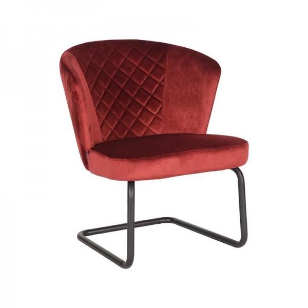 Lounge Sessel Flow Samt Velvet rot