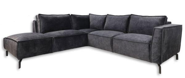 Eckgarnitur Morgan 2,5 Sitzer Velour dunkelgrau Samt Couch Sofa Ecksofa Longchair links