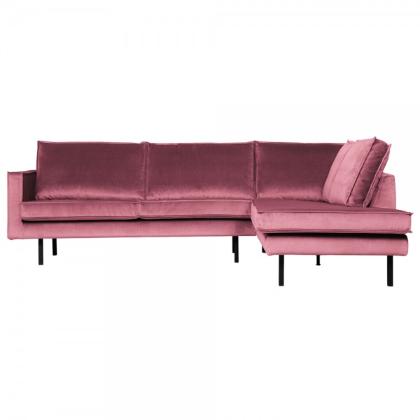 Eckgarnitur Rodeo Samt pink Couch Sofa Ecksofa Longchair rechts