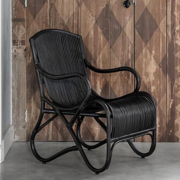 MUST LIVING Lounge Chair Sessel Como Rattan schwarz Relaxsessel