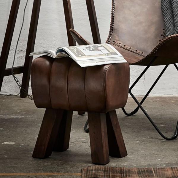 Hocker Bock Lima H 47 cm Leder braun Sitzhocker Fußhocker Holz Holzhocker