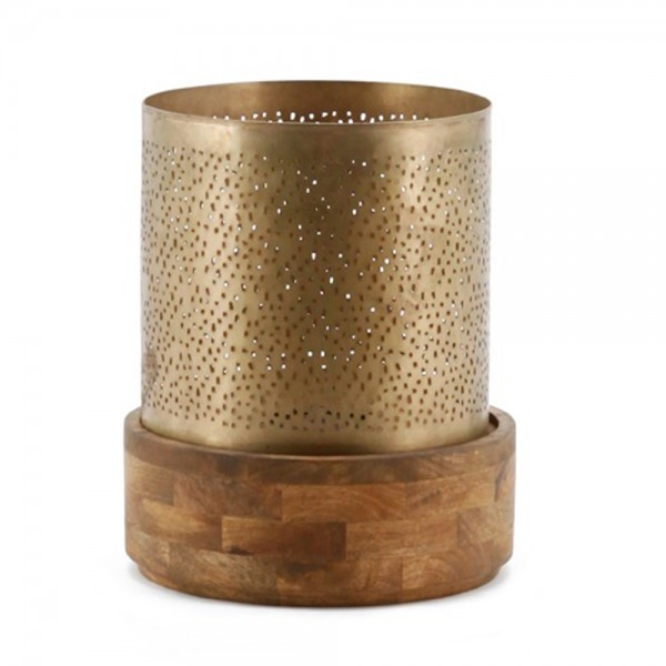 Kerzenständer BAZAR Kerzenleuchter Kerzen Holz Metall Shabby Landhausstil