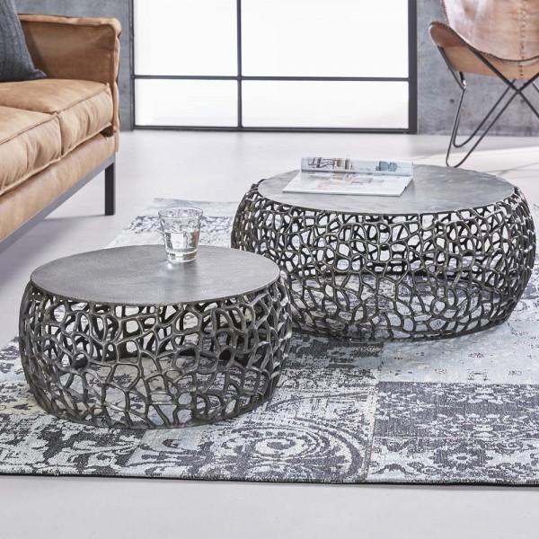 2er Set Couchtisch Edin Anstelltisch Beistelltisch Sofatisch Tischset Metall