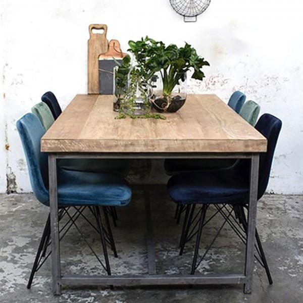 Industrie Esstisch MIKE 200 x 100 cm Esszimmertisch Massivholz Dinnertisch Metall vintage grau