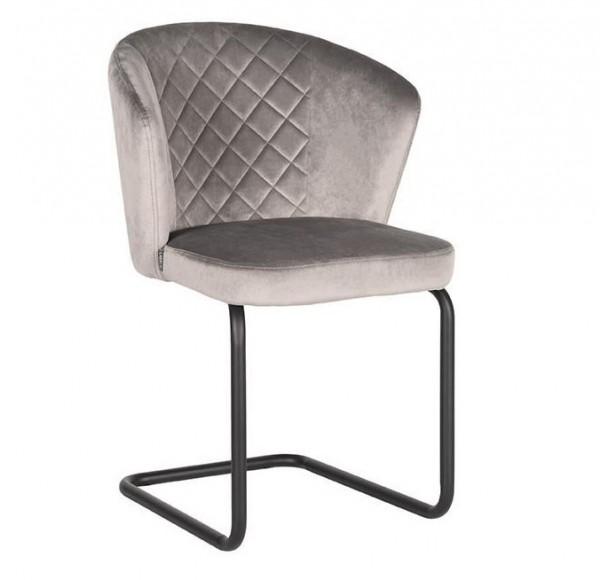 Esszimmer Schwingstuhl FLOW Samt grau Stuhl