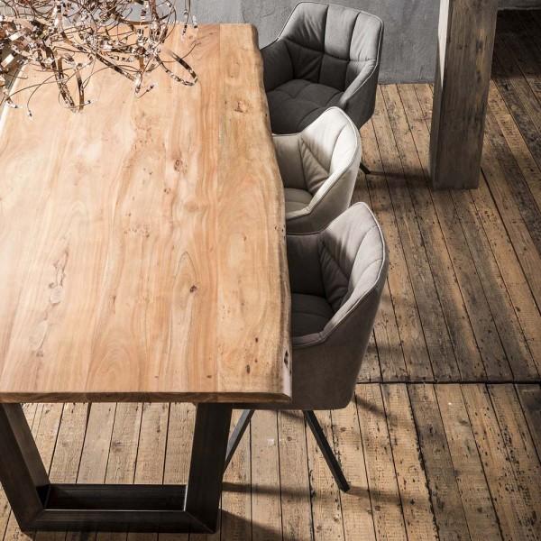 Esstisch Baumstamm 240 cm massiv Akazie Holztisch Baumkante