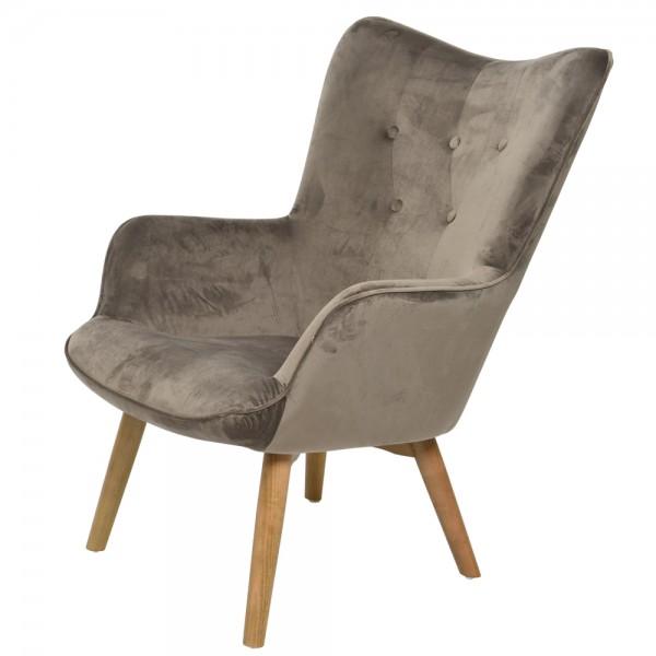 Armlehnensessel Samt grau Relaxsessel Fernsehsessel Lounge Sessel