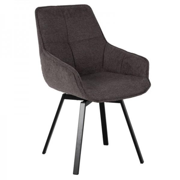 Esstischstuhl Stuhl drehbar Shannon Stoffbezug dunkelgrau