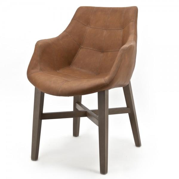 Design Stuhl NEBA cognac mit Armlehne
