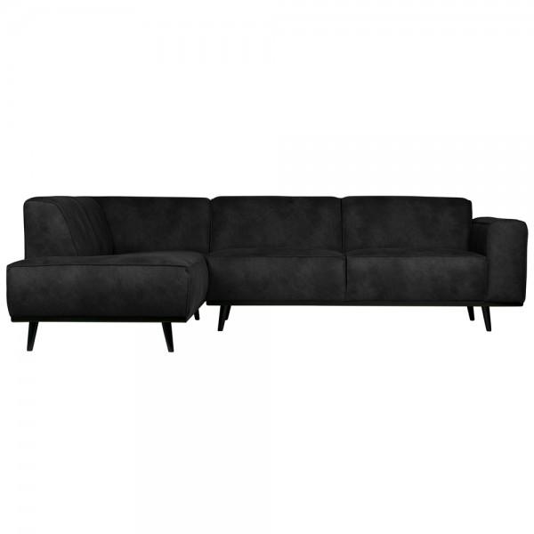 Eckgarnitur Statement Wildlederimitat schwarz Couch Sofa Ecksofa Eckcouch Longchair Links