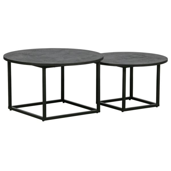 woood 2er Tischset Beistelltisch Enzo schwarz