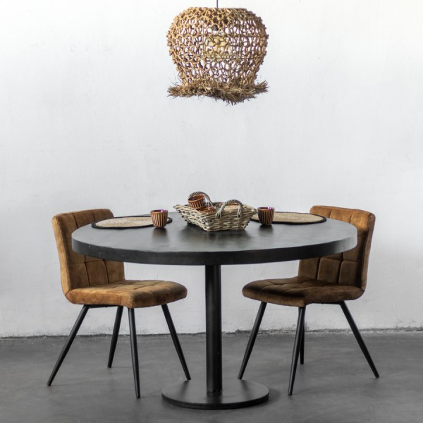 Esstisch Dinand rund Ø 110 cm schwarz Holz Metall