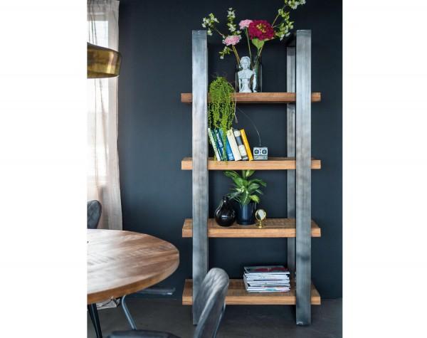 Industrie Bücherregal 200 x 94 cm Mango Holz Regal Metall