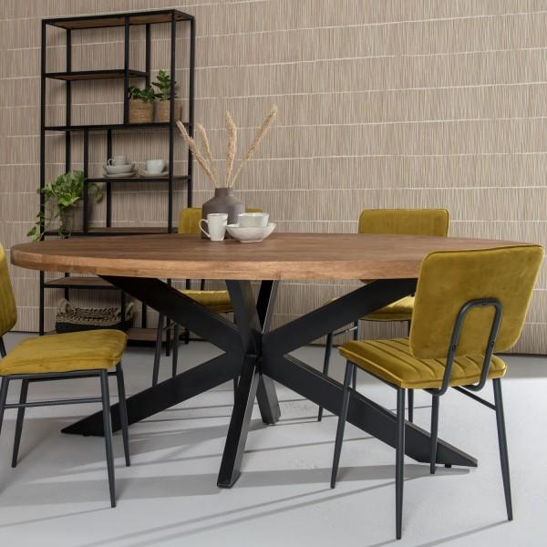 Esstisch Sturdy oval 180 x 90 cm Mango Holz Metall