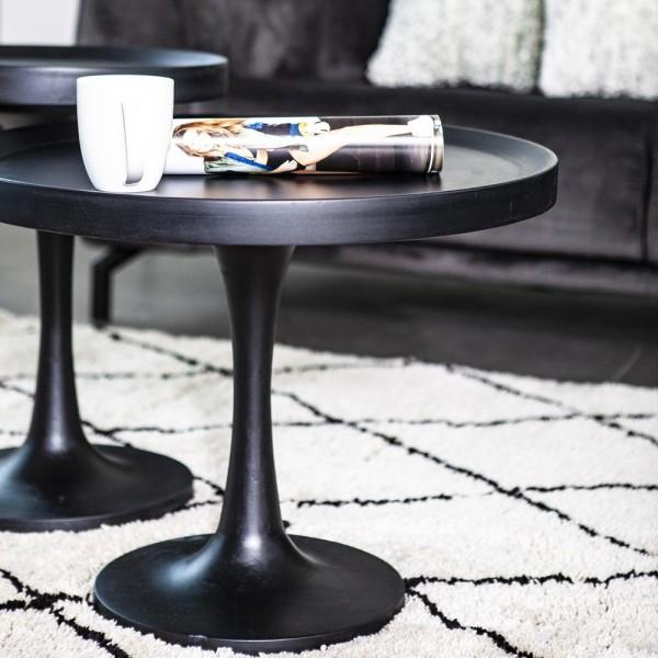 Beistelltisch Totum Ø 50 cm Anstelltisch Sofatisch Tisch Stehtisch Mango schwarz