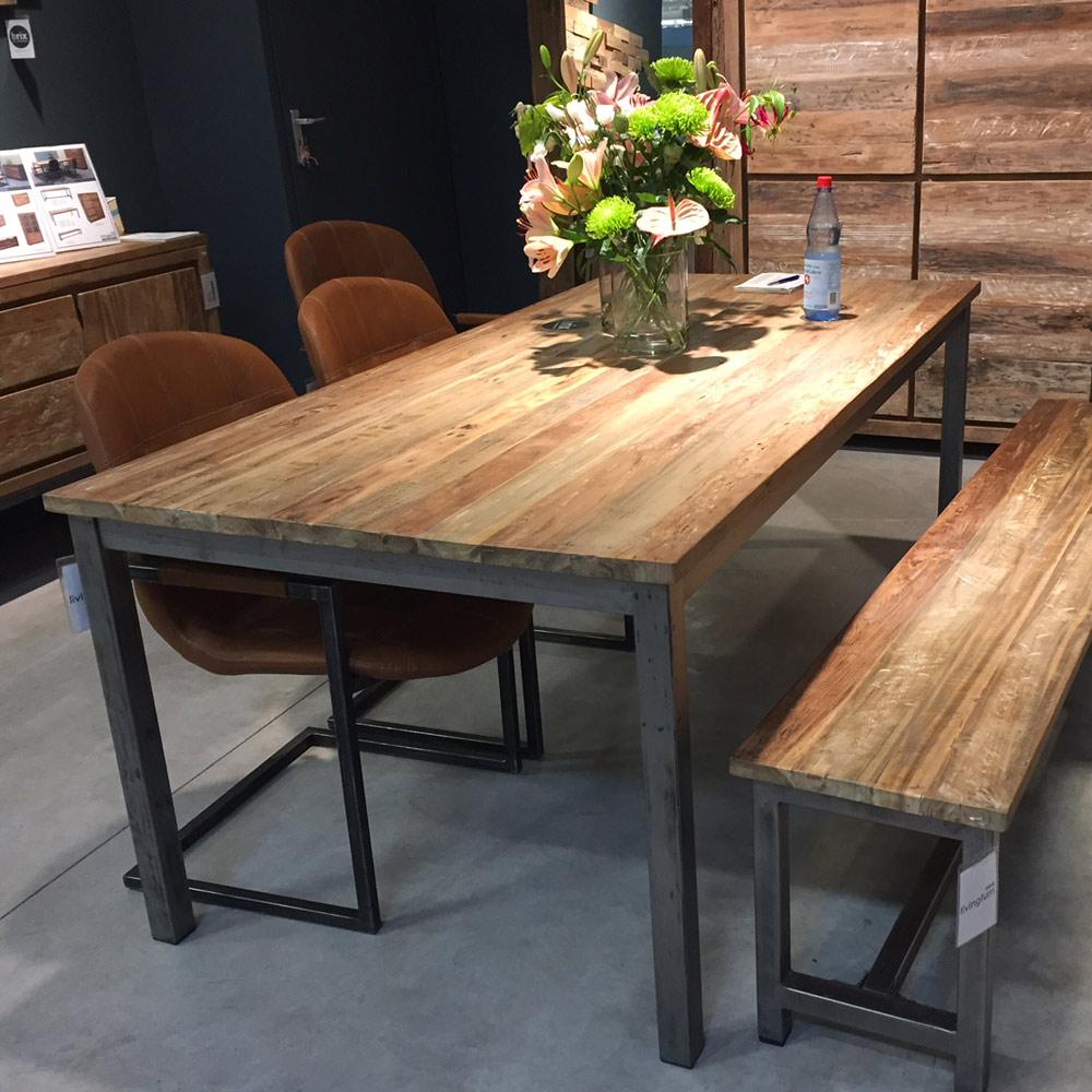 industrie design esstisch boston ii esszimmertisch dinnertisch teakholz metall new maison. Black Bedroom Furniture Sets. Home Design Ideas