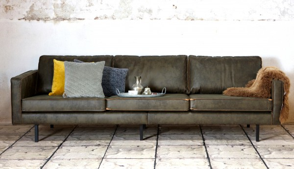 BePureHome 3 Sitzer Sofa RODEO recyceltes Leder army grün