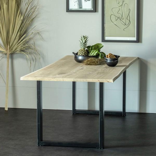 Esstisch Tablo 160 x 90 cm Eiche Baumkante Metall U-Beine