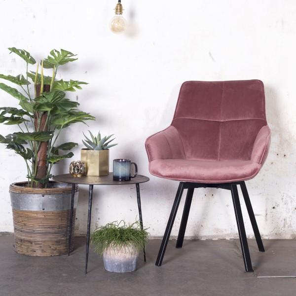 Esszimmerstuhl drehbar Shannon Samt rosa Stuhl