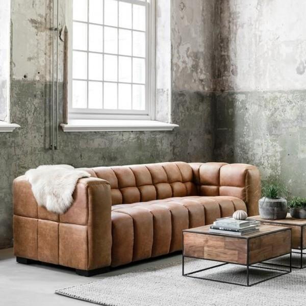 3 Sitzer Sofa Waves Leder cognac Lounge Couch Garnitur