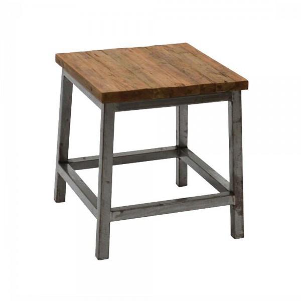 Hocker BARRY 40 x 40 cm Sitzhocker Fußhocker Metall Teak Massivholz Holzhocker