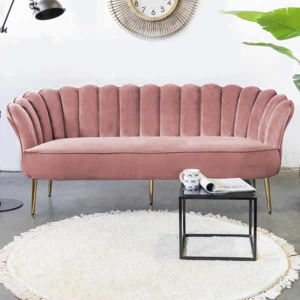 Giga 3 Sitzer Sofa Jada rosa 192 cm Samt Sofbank